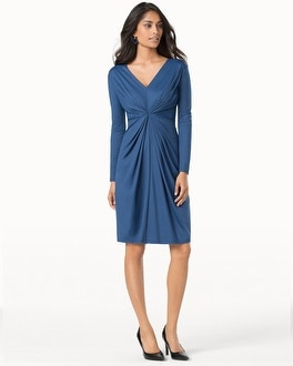 Leota Catherine Twist Front Long Sleeve Dress Navy