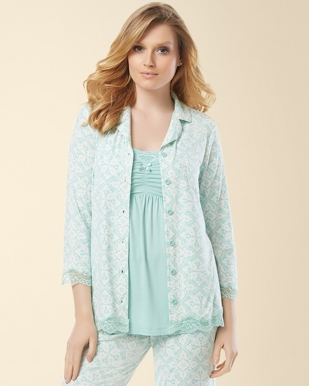 Notch Collar Lace Pajama Top Palace Tile Pale Jade