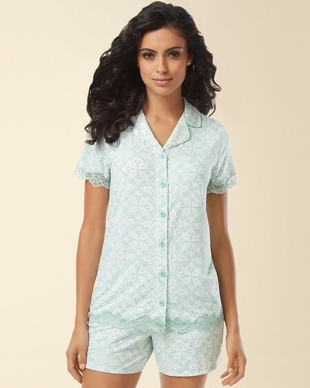 Notch Collar Lace Short Sleeve Pajama Top Palace Tile Pale Jade