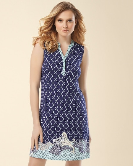Sleeveless Sleepshirt Surfside Paisley Border