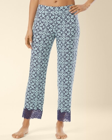 Lace Ankle Pajama Pant Palace Tile Navy