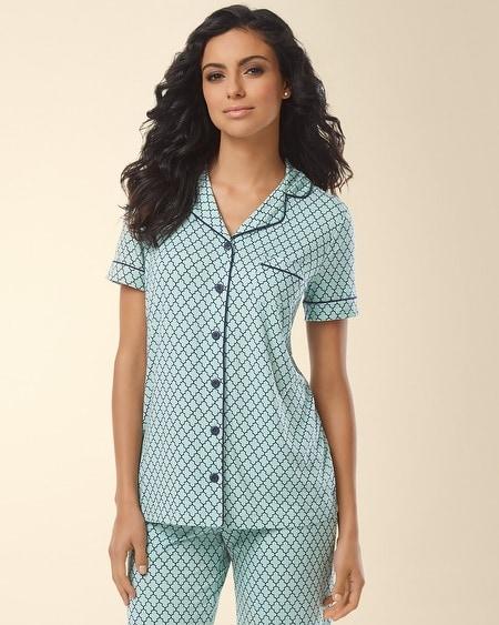 Notch Collar Pajama Top Surfside Tile Pale Jade