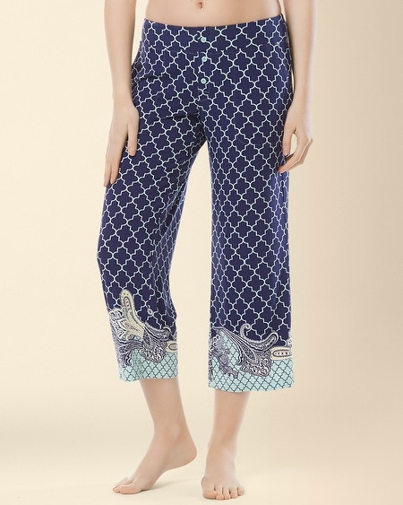 Crop Pajama Pant Surfside Paisley Border