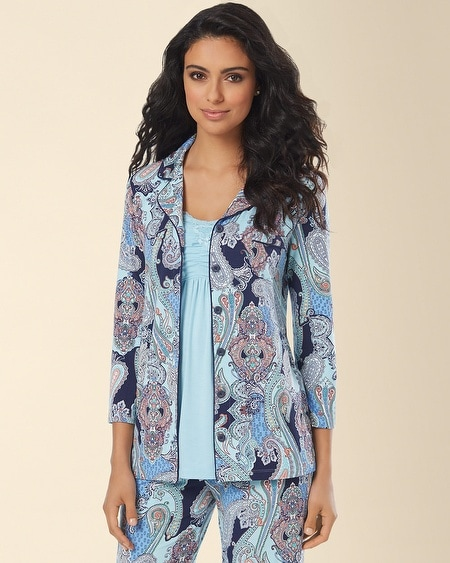 Notch Collar Pajama Top Summer Paisley