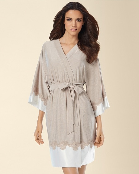 Color Blocking Lace Short Robe