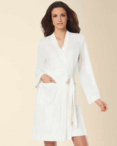 Bamboo Terry Short Robe Ivory