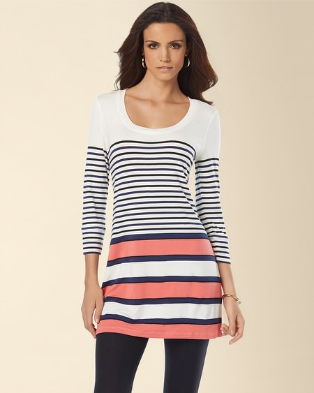V-Neck 3/4 Sleeve Tunic Stripe