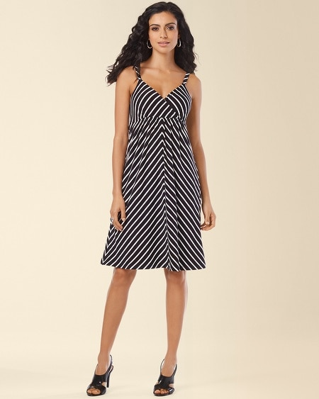 Surplice Short Striped Tank Dress