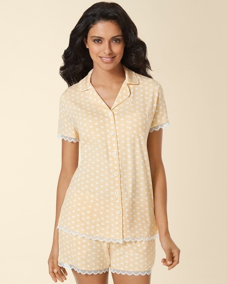 Notch Collar Lace Pajama Top