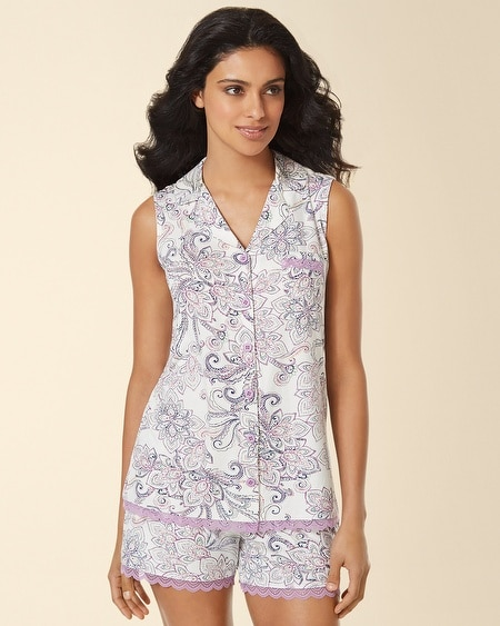 Sleeveless Lace Notch Collar Pajama Top Passport Paisley Ivory