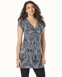 Live. Lounge. Wear. Short Sleeve Knotted Front Tunic Mosaic Lace Black