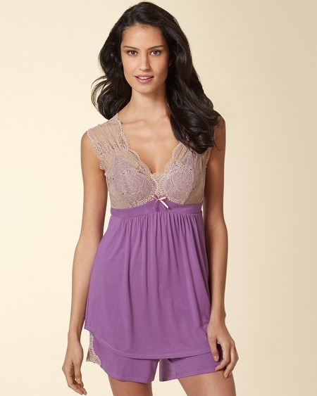 Ornamental Scroll Lace Sleep Cami Aubergine