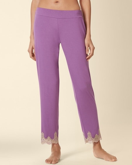 Ornamnetal Scroll Lace Ankle Pajama Pant Aubergine
