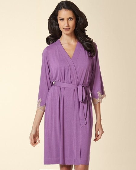Ornamental Scroll Lace Short Robe Aubergine