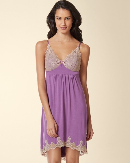 Ornamental Scroll Lace Sleep Chemise Aubergine