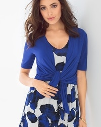 Short Sleeve Convertible Wrap Jewel Blue