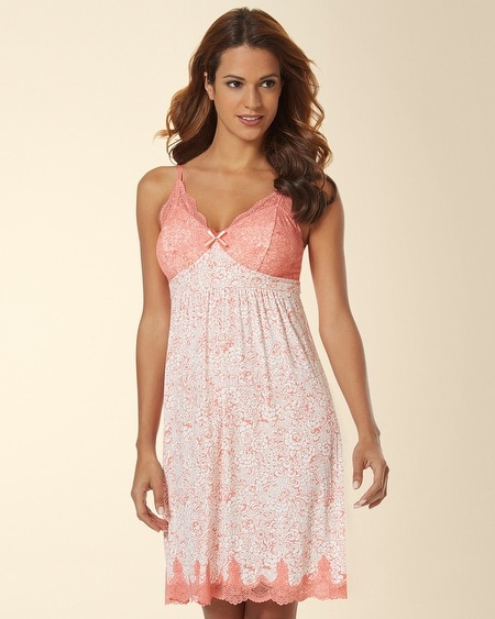 Ornamental Scroll Lace Sleep Chemise Inked Floral Coral Hype