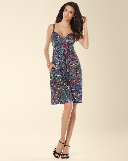 Sleeveless Paisley Printed Surplice Short Dress