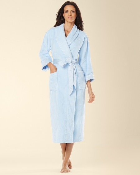Luxe Terry Spa Long Robe Sky