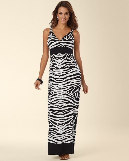 Sleeveless Border Print Surplice Maxi Dress