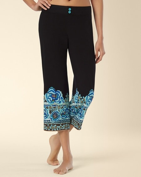Crop Pajama Pant Painted Batik Black