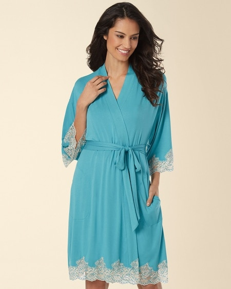 Festive Floral Lace Short Robe Paradise Teal