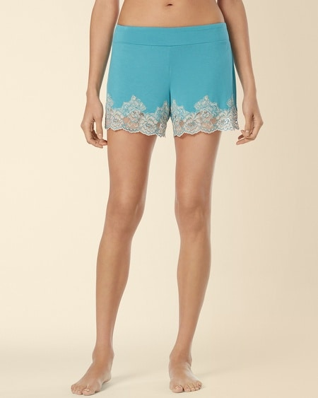 Festive Floral Lace Sleep Short Paradise Teal