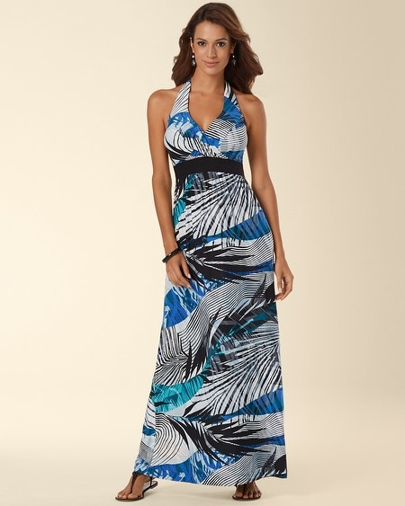 Front Twist Halter Maxi Dress