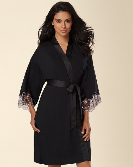 Boudoir Floral Lace Short Robe Black