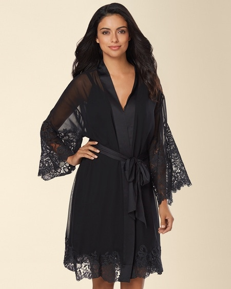 Signature Floral Lace Short Robe Black