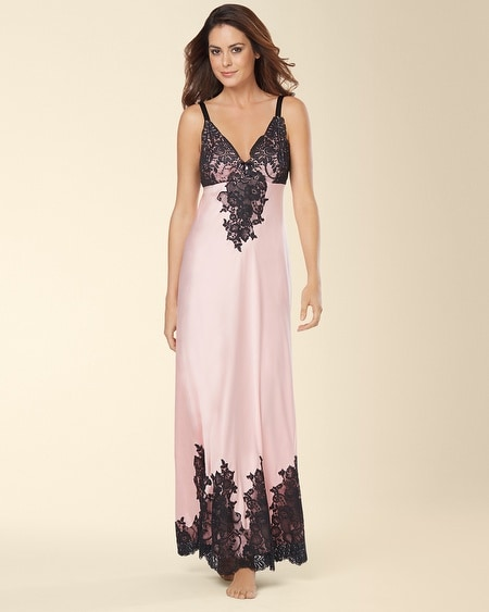 Signature Floral Lace Long Nightgown Boudoir Pink