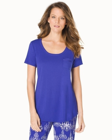 Short Sleeve Pajama Tee with Pocket Jewel Blue