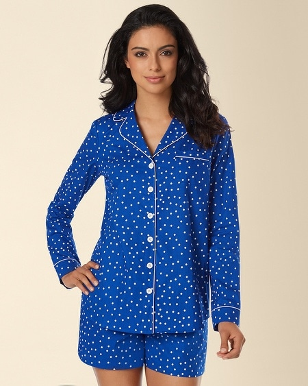Woven Notch Collar Pajama Top Connect The Dot Atlantis