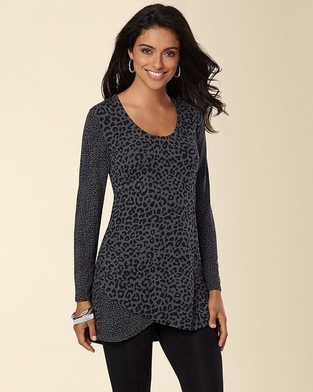 Wrapped Hem Tunic-Luxe Leopard Black