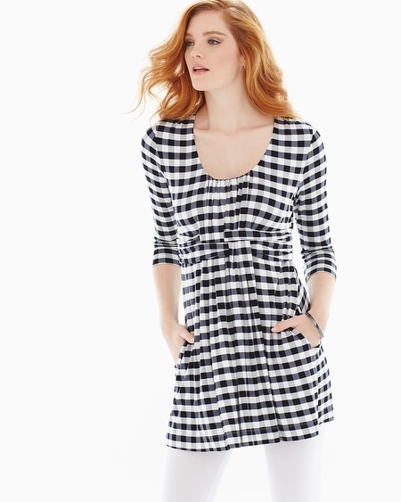 Soft Jersey Wrapped Waist Tunic Grand Gingham