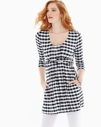 Live. Lounge. Wear. Soft Jersey Wrapped Waist Tunic Grand Gingham