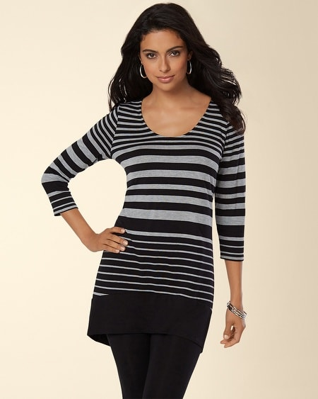 Banded Hem Tunic Novel Stripe Silver