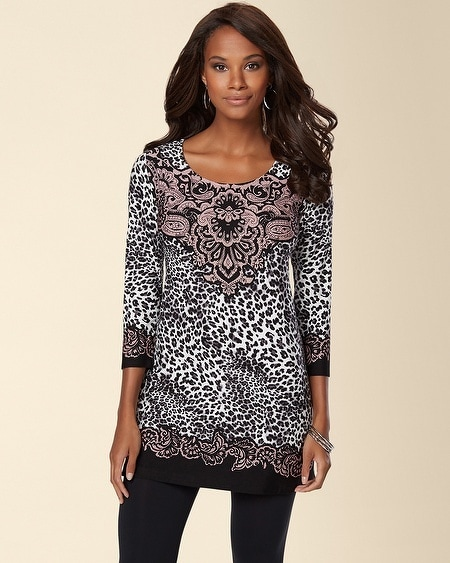 Scoopneck Tunic Filigree Paisley Black