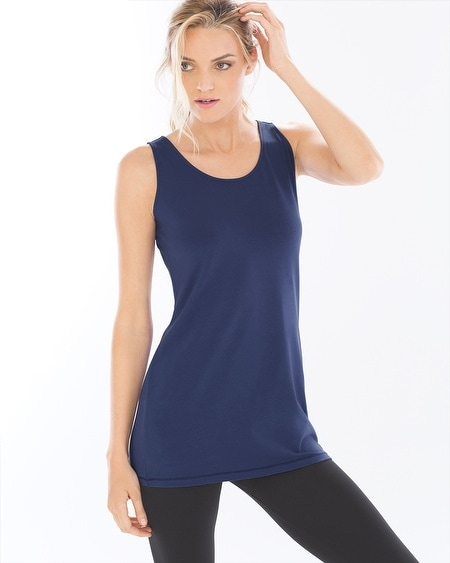 Pima Cotton Tunic Layering Tank Navy