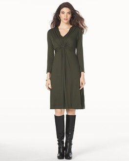 V-Neck Twist Front Dress Dark Olive
