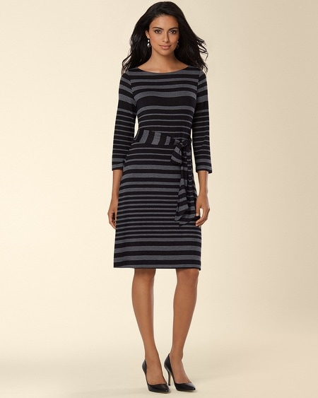 3/4 Sleeve Self Tie Dress Variegated Stripe Black