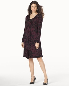 Long Sleeve Knot Front Dress Fancy Scroll Merlot