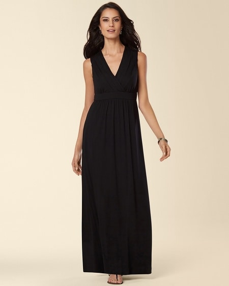 Sleeveless Pleated Lace Maxi Dress Black
