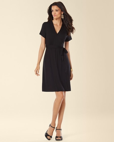 Cap Sleeve Wrapped Dress Black