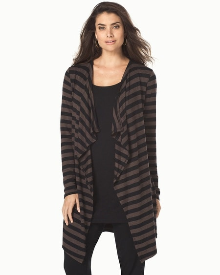 Divine Terry Draped Front Wrap Precise Stripe Heather Java