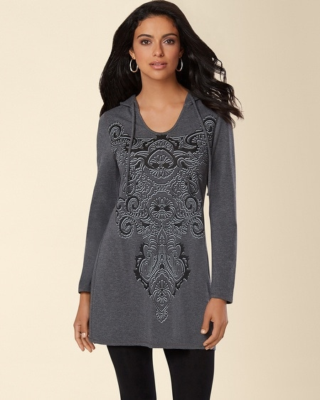Divine Terry Hooded Tunic Ornate Heather Quartz