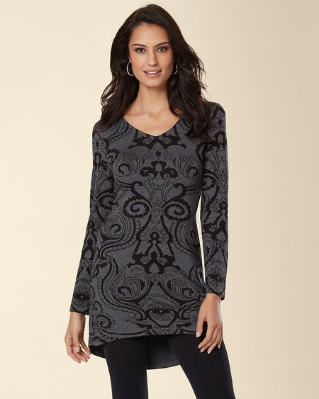 Divine Terry Long Sleeve V-Neck Tunic Mythical Scroll