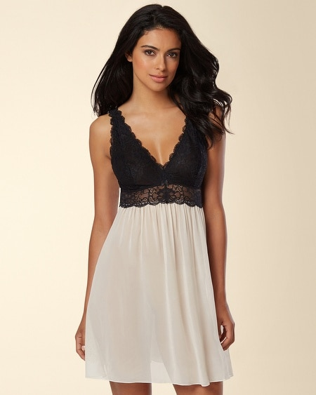 NK iMode Silk Bust Support Lace Sleep Chemise Champagne