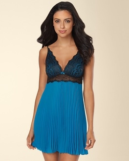 NK iMode Upper Park Avenue Pleated Babydoll Set Teal/Black