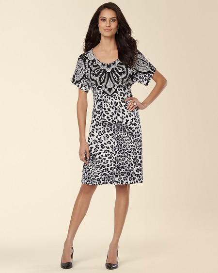 Short Dolman Sleeve Dress Filigree Print